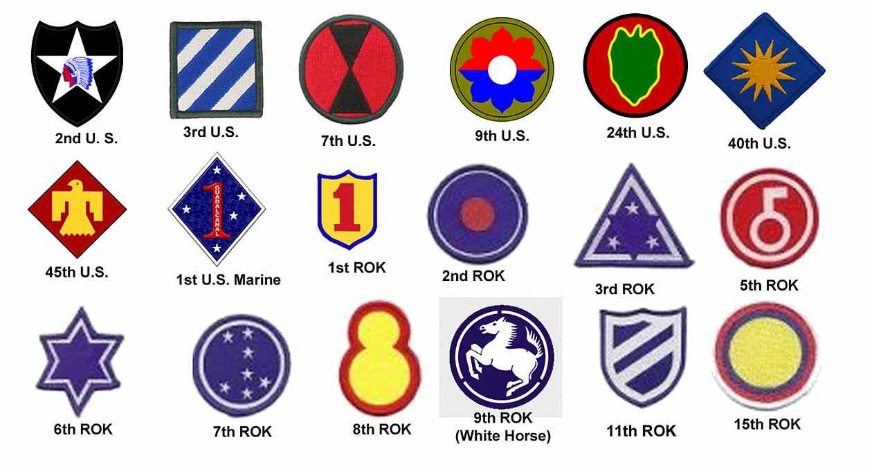Insignia of divisions supported by 2nd Chemical Mortar Battalion in Korea